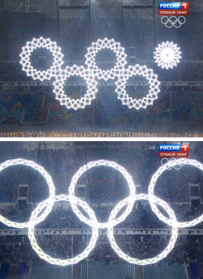 Russian TV replaced the above fail with footage from rehearsal so everything looked well in Russia. The rest of the world saw four rings and a snowflake.
