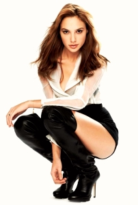 Gal Gadot In Leather Boots And White Shirt